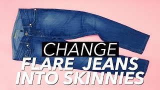 How to Make Skinny Jeans from Flare or Boot Cut Jeans   WITHWENDY