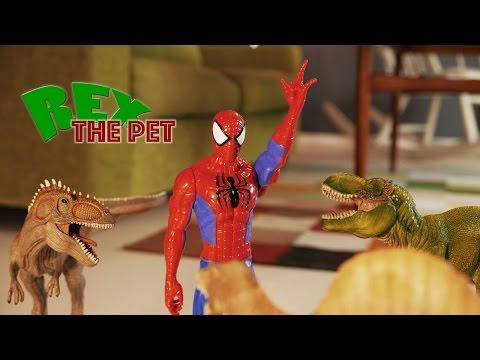 T-Rex vs Spiderman! Spiderman fights dinosaurs in a Spiderman animation movie. Rex The Pet is back!