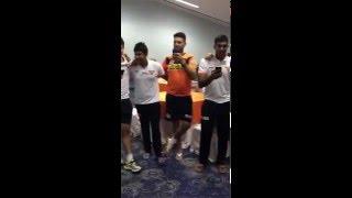Yuvraj Singh and Shikhar Dhawan Singing a Winning song after IPL match for Sunrisers Hyderabad