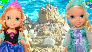 Anna and Elsa Beach Trip Swimming Pool Beach Lagoon Part 2 Sand Castles Play Anna and Elsa Toddlers