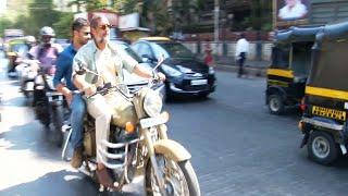 Nana Patekar spotted riding Royal Enfield bike on the streets of Mumbai - MUST WATCH.