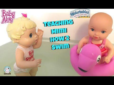 Xxx Mp4 Baby Alive Bailey Teaches Waterbaby Mimi To Swim 3gp Sex