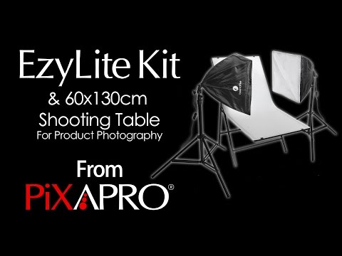 PIXAPRO Product Shoot For Small To Medium (Ezylite Twin-Head Kit And PIXAPRO 60x130 Shooting Table)