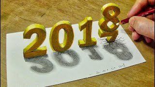 Happy New Year 2018 - How to Draw Number 2018 - Trick Art with Vamos