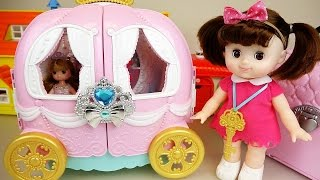 Pink pumpkin carriage and Baby doll house bag toys