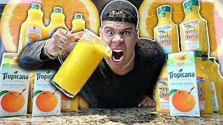 ORANGE-IEST DRINK IN THE WORLD CHALLENGE!!! (EXTREMELY DANGEROUS) *99% PULP ORANGE JUICE*