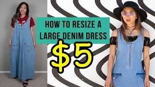 Denim Dress with Zipper Side Slits | Thrifted Quick Fix