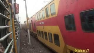 Chennai Intercity exp Xing Kavery bridge & Double Decker
