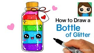 How to Draw a Bottle of Glitter Easy and Cute
