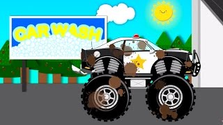 Police Car Wash Monster Truck | videos For Children | videos for kids