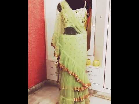 Xxx Mp4 Hand Embroidered Ruffle Saree In Green Color With Designer Blouse 3gp Sex