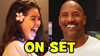 MOANA Behind The Scenes With The Cast (Movie B-Roll & Bloopers) - Dwayne Johnson, Auli