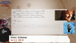 Perfect - Ed Sheeran Drums Backing Track with chords and lyrics