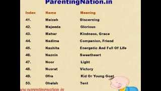 Muslim Baby Girl Names With Meanings 3 Years Ago