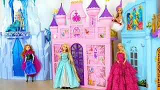 Putri Barbie boneka istana kerajaan berwarna merah muda - putri duyung putri kamar tidur pagi