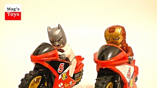 Superheroes Lego Motorbike Action with Toy Police Car Chase