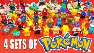 4 Sets of Pokémon Unofficial LEGO KnockOff Minifigures w/ Pikachu & Ash Ketchum
