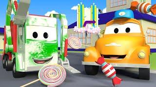 Gary El Camión de Basura está cubierto de azúcar ! - El lavado de Autos de Tom La Grúa 🛀 Dibujitos