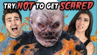 To Try Not To Get Scared Challenge (IRL Haunted House)
