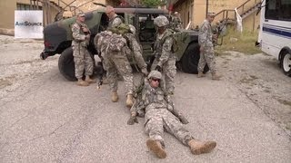 Simulated Fire Fight - National Guard, Muscatack Urban Training Complex