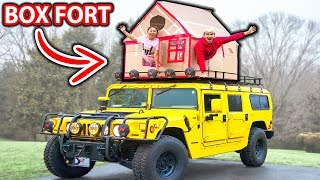 BOX FORT ON GIANT CAR!! (GONE WRONG)