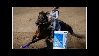 Bruner lets her horse roll to barrel racing win at Calgary Stampede