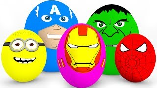 Learn Colors SURPRISE EGGS for Kids - Cars Truck Educational Video - Superheroes for Babies