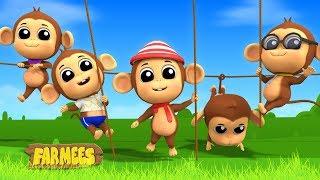 Five Little Monkeys | Farmees Nursery Rhymes For Toddlers