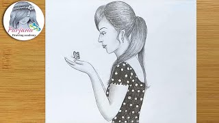 Girl with Butterfly drawing for beginners / pencil sketch