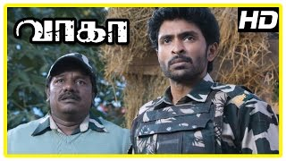 Wagah Tamil movie scenes | Vikram Prabhu decides to help Ranya cross border | Karunas