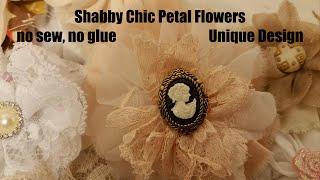 Fabric Flower Diy, Shabby Chic tutorial, chiffon, lace, organza flower, hair pin, singed flower