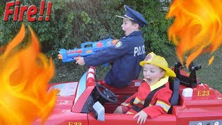Kids pretend play featuring silly fun kids with Sketchy Mechanic starting FIRE!