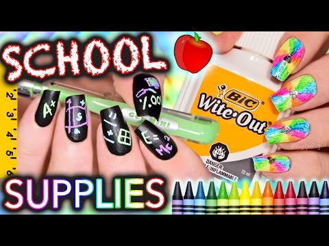Back to School Nails using ONLY SCHOOL SUPPLIES Challenge