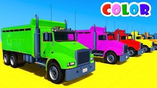 LEARN COLORS for kids w TRUCK Cars & Spiderman Cartoon - Superheroes for Babies!
