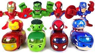 We also want to run the track! Marvel Tsum Tsum Tomica Hulk, Spider Man transform! - DuDuPopTOY