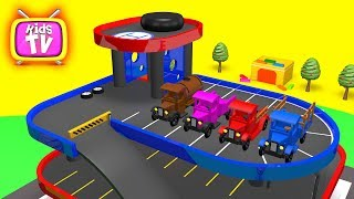 Cartoon for kids. Learn colors with cars. 3d video for children