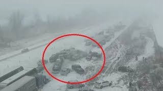 70 car pile-up caught on camera as Iowa motorists battle snowy roads