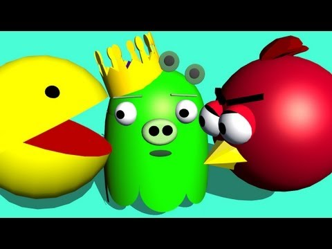 PACMAN starring Angry Birds ♫ 3D animated game mashup ☺ FunVideoTV Style ;