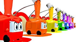 Learning Colors for Children with 3D Animation Painting Buses at Garage