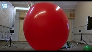 Giant 6 foot Balloon Pop in Slow Motion with FAM JAM