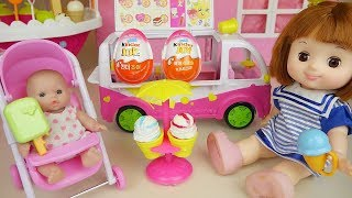 Baby doll Ice cream car and surprise eggs toys play