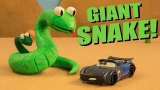 GIANT SNAKE Trouble Maker Jackson Storm Plays with Snake Hole & Tow Mater Saves the Town