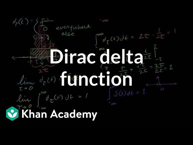 Dirac delta function | Laplace transform | Differential Equations | Khan Academy