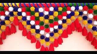 Awesome DOOR TORAN FROM WOOLEN    Handmade Woolen Toran ll DlY-Door Hanging Toran Form woolen idea