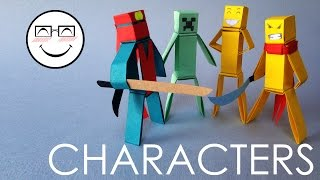 How to make paper characters - minecraft characters without glue by Vyouttar Origami - VM3