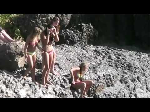 Chico State girls Cliff jump FAiL at Bear hole upper Bidwell park CA 2012