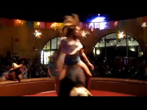 Hot Girl doing Matrix on a mechanical bull 8