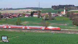 Züge bei Niedergeislbach: Große Südostbayernbahn-Züge zur Hauptverkehrszeit & Güterzüge | [km 39,8]