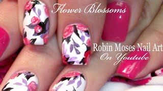 ROSE NAIL ART | Pink and Lavender Flower bouquet Nails design tutorial