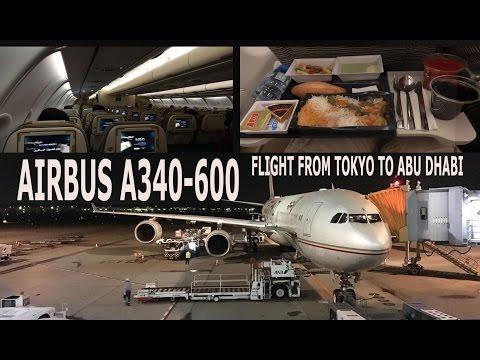 My Flight From Tokyo to Abu Dhabi - Airbus A340-600, Etihad Airways 2016 4K